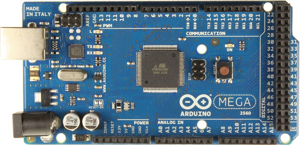 The Arduino Mega 2560 is a powerful microcontroller board. It has up to 69 GPIO pins, a USB interface to the flight computer, and a vertically stacking footprint that is mimicked on each PCB in the stack.