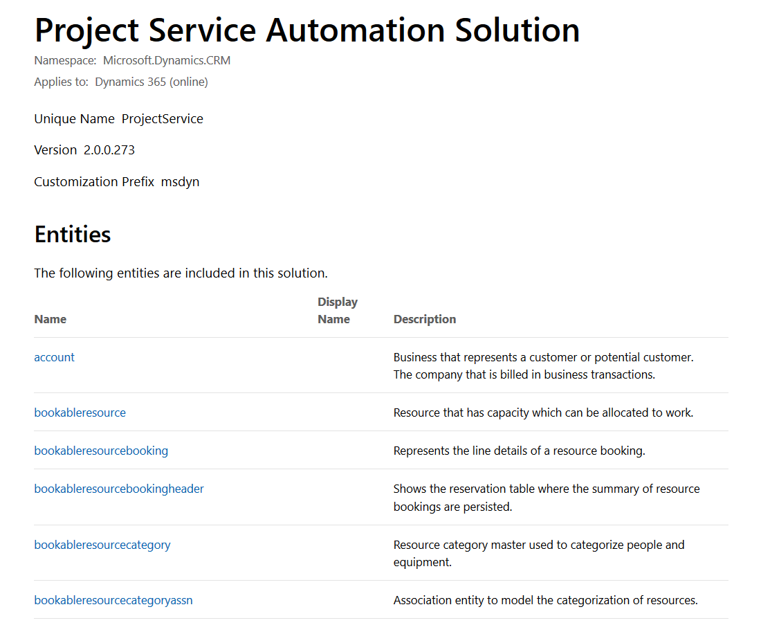 Dynamics 365 Project Service Automation: List of all Primary
