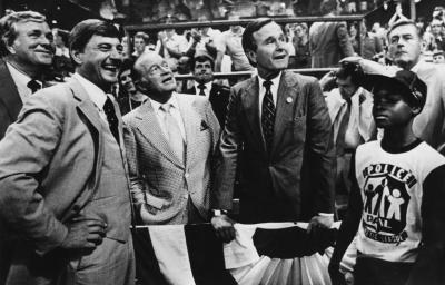 Cy Laughter (left) and Vice President George H.W. Bush (right)at a MLB game, 1981