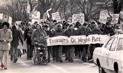 Protesters march from downtown Fairborn to Wright-Patterson Air Force Base Jan. 8, 1970