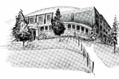 Picture of the Fieldhouse drawn by artist Harry Wilson