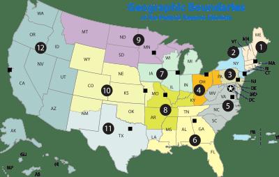 Карта региональных отделений ФРС