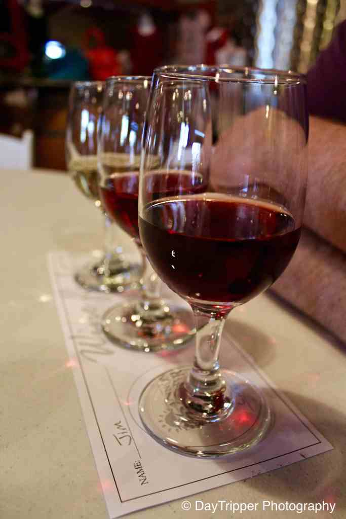 Wine flight at Cannon River Winery