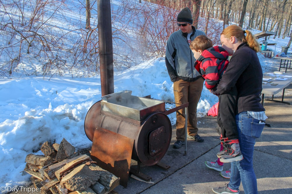 Reducing Maple Syrup over a fire