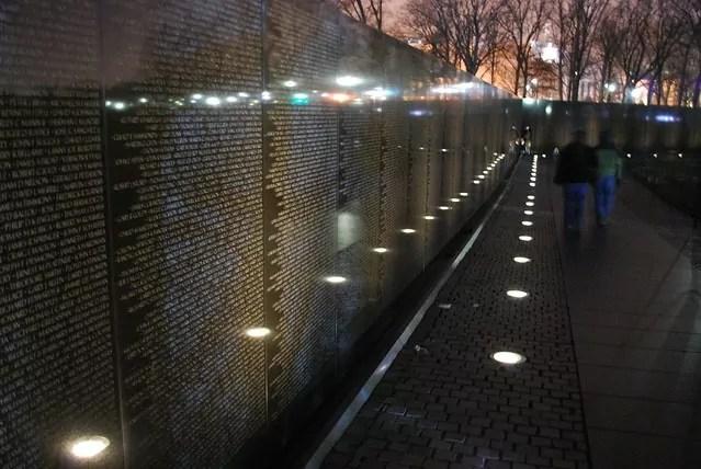 Vietnam Memorial wall at night