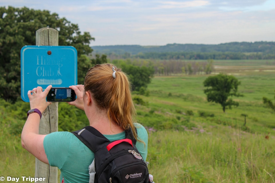 Snapping a pic of the hiking club trail.