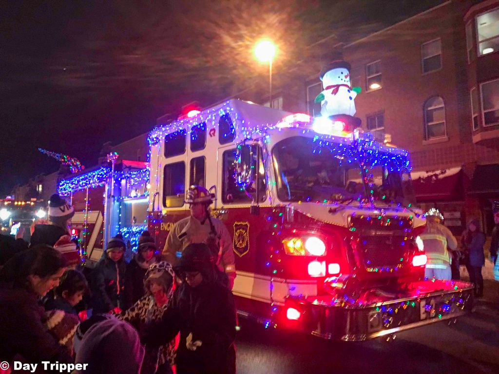 Fire Truck with Christmas Lights in Downtown Shakopee