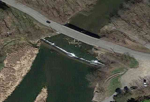 Aerial View of Munson St Dam on Oatka Creek in LeRoy