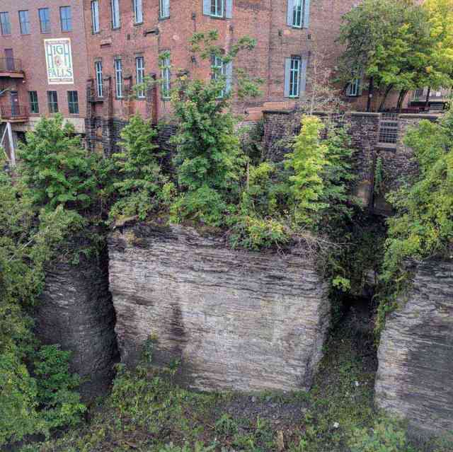 High Falls Rochester NY Genesee River exposed rock wall