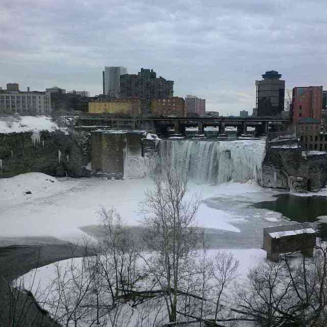 High Falls Rochester NY Genesee River winter waterfall