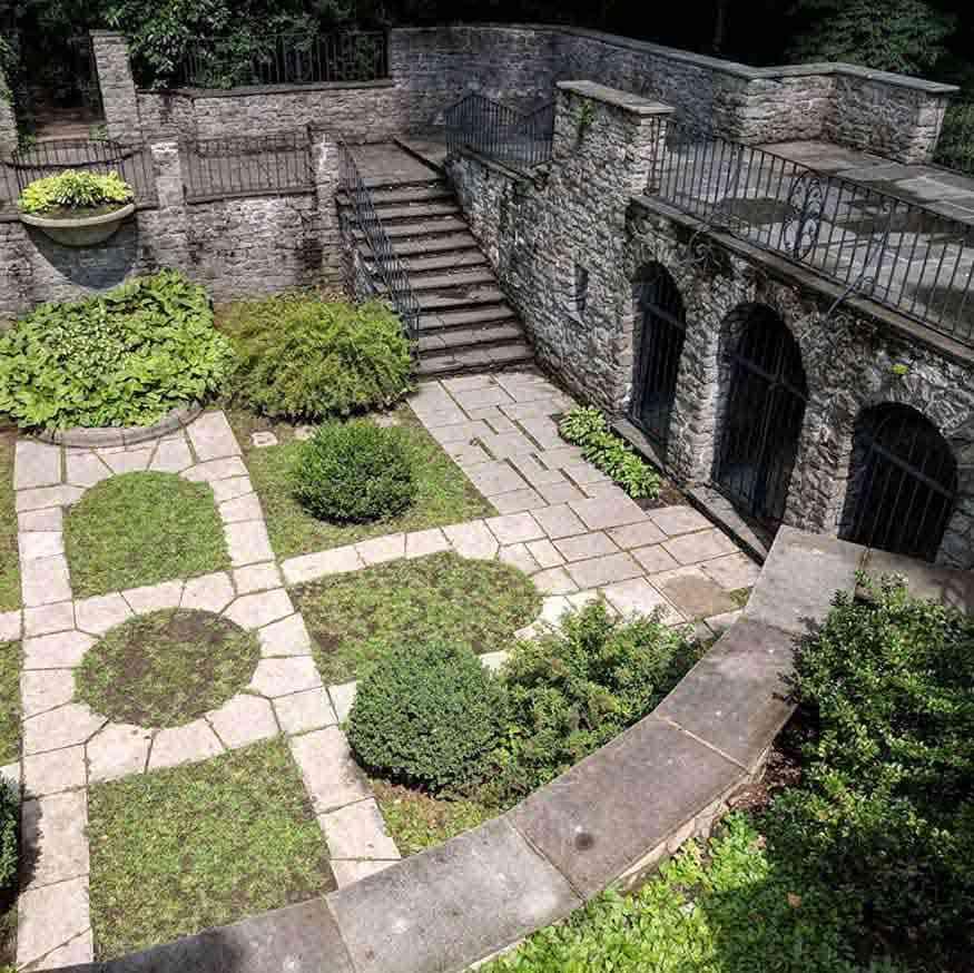Warner Castle Sunken Garden from above