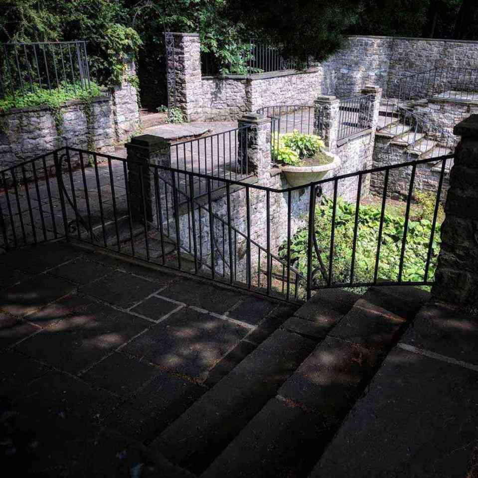 Warner Castle Sunken Garden in shadow