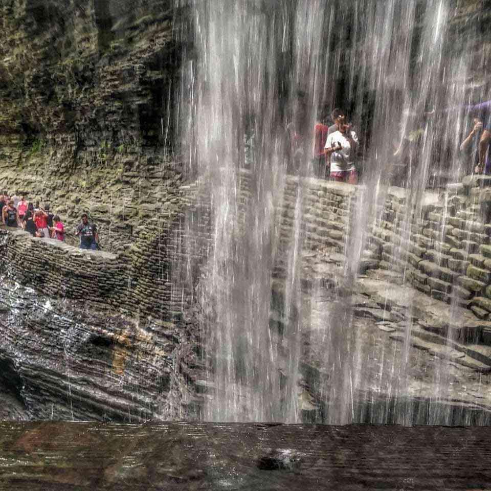 Watkins Glen State Park behind waterfall