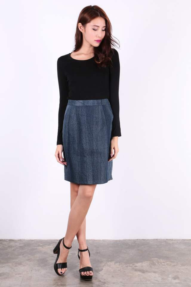 Denim Skirt (Dark Blue) - SGD$ 30.00 (Available in Light Blue)