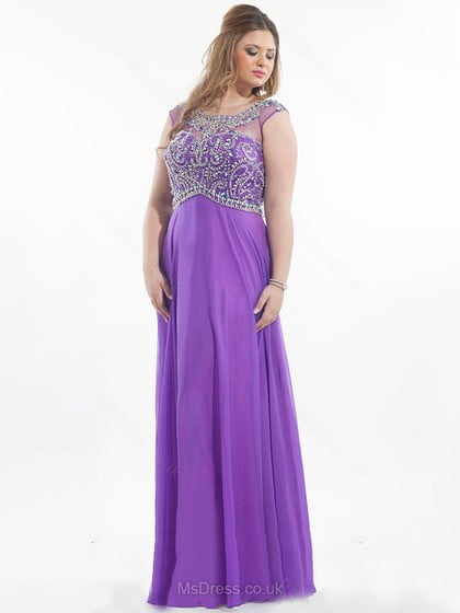 A-line Scoop Neck Tulle Chiffon Floor-length Beading Prom Dresses