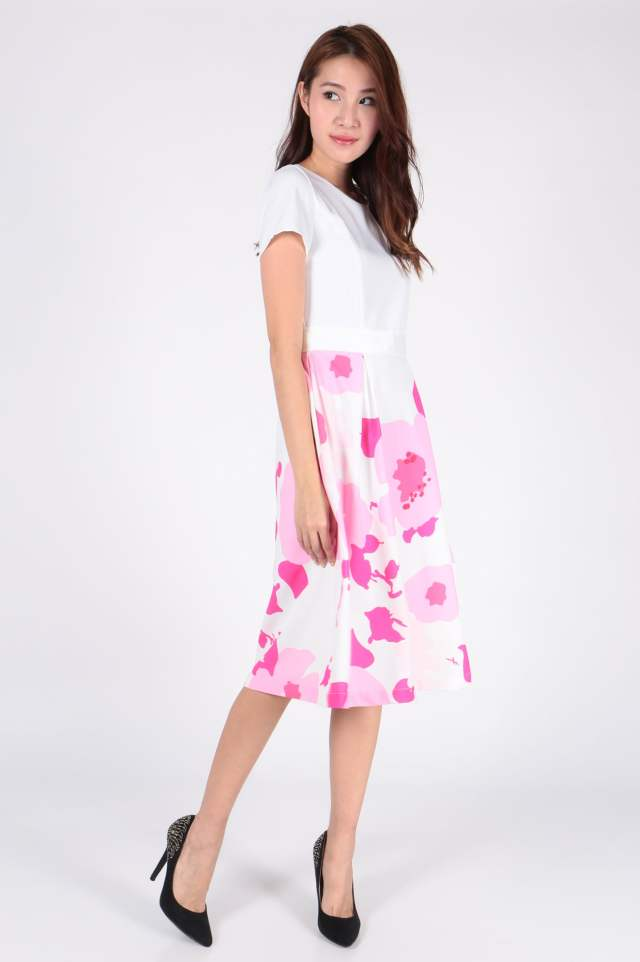 Splatter Floral Midi Dress (White) - SGD$ 40.00 (Available in Black)