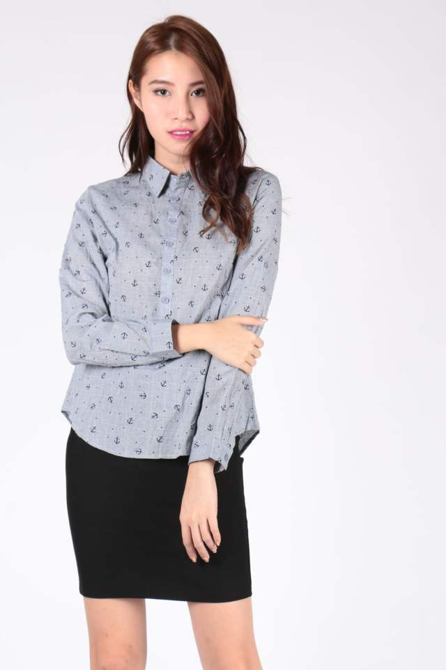 Nautical Printed Collar Shirt (Grey) - SGD$ 28.00 (Also available in White)
