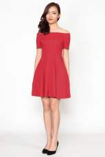 Velda Off Shoulder Dress - Red
