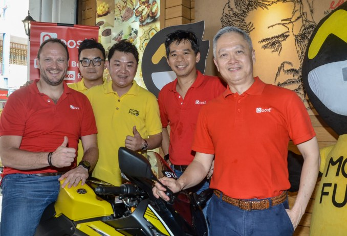 (L-R) Christopher Tiffin, CEO of Boost, Victor Ng, the co-founder of MOREFUN, Oscar Young, founder of MOREFUN, Mohd Khairil Abdullah, Chief Executive Officer of Axiata Digital Services and Eric Chong.