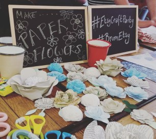 Paper flowers at our Craft Party