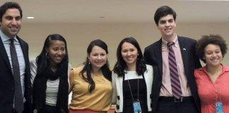 Участники брифинга ООН. Ольга Мун четвёртая слева.