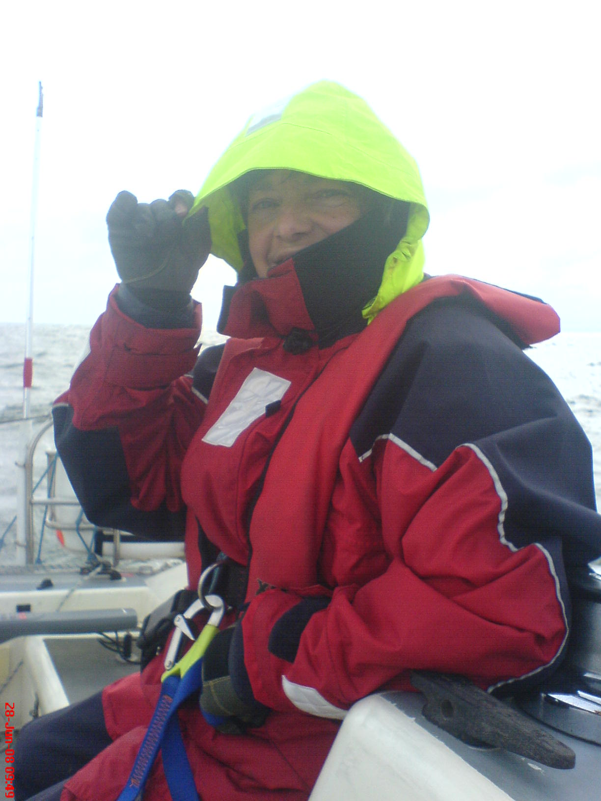 Liz braving the weather, Harwich to Wells