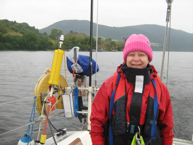 Jennie at the helm on Loch Ness.   Passage Inverness to Oban.