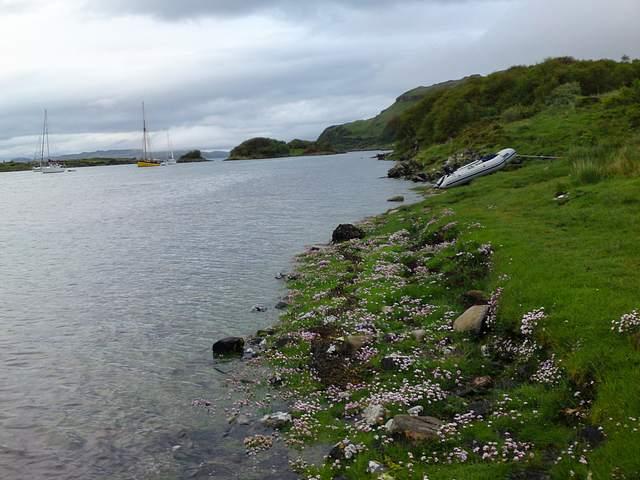 Ashore on Seil Island lloking across Puilledobrhain anchorage