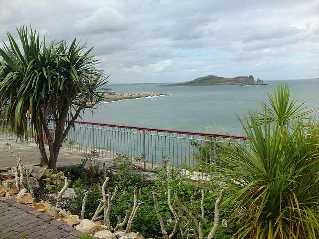 Howth Marina and Ireland's Eye from cliffs.