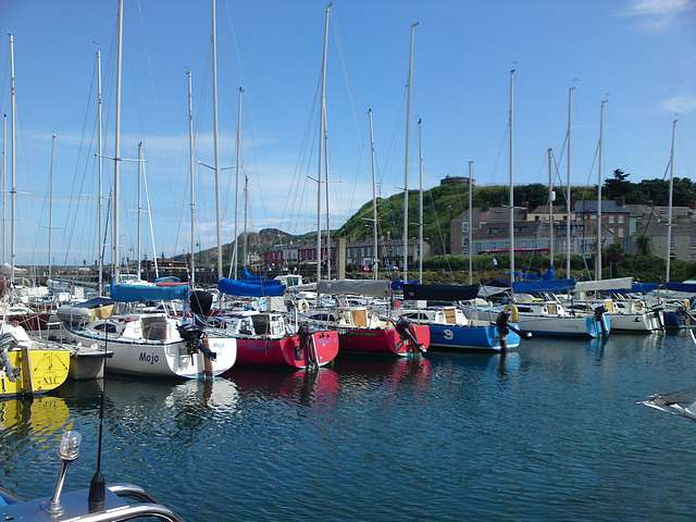 Howth Marina, Dublin with Martello tower in background.