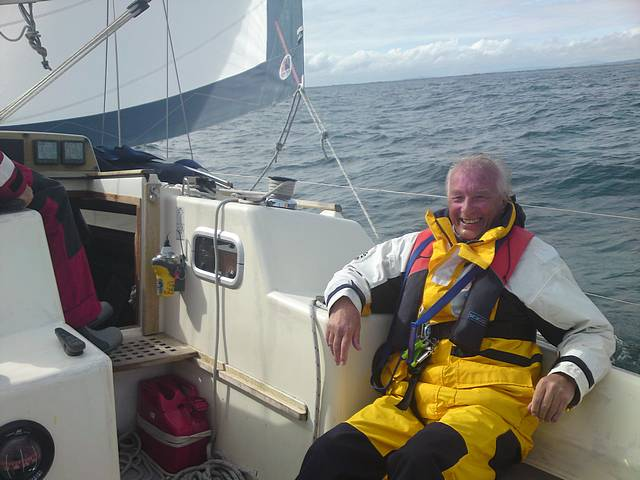 Ian, relaxing whilst sailiing to Kilmore Quay.