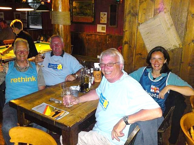 Crew enjoying a meal in the New Inn, Tresco
