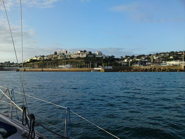 Approaching Torquay Harbour entrance.
