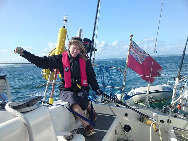 Marion at the helm, Start Bay.