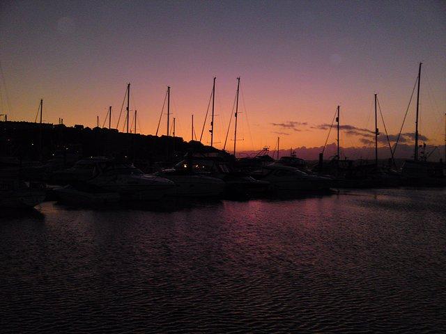 Night falls on Brixham Harbour
