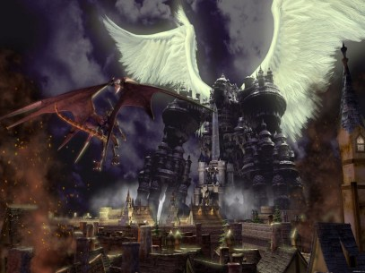 Bahamut and Alexander fight in Final Fantasy IX