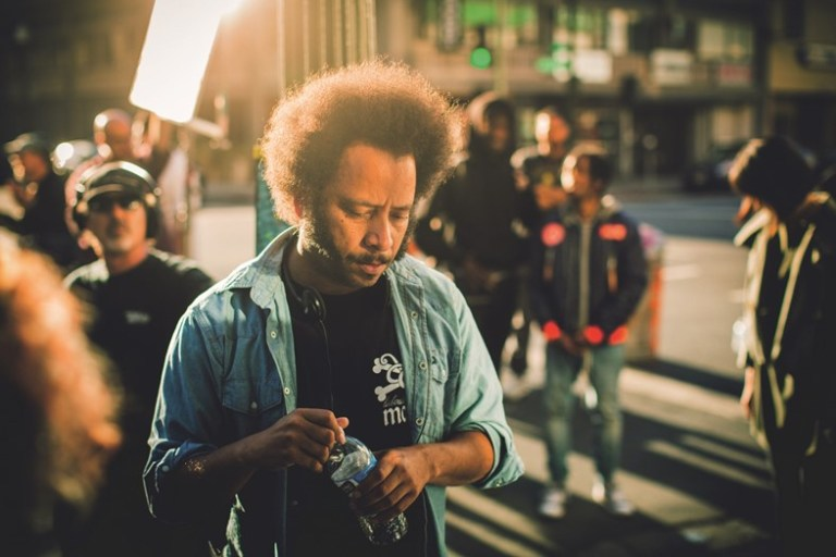 Boots Riley on the set of Sorry to Bother You