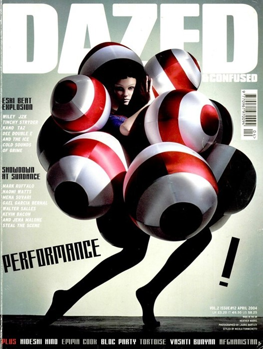 A design from Gareth Pugh's graduation collection, Dazed & Confused cover by Laurie Bartley, April 2004