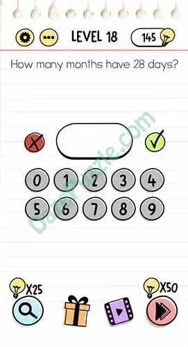 Jawaban Permainan Brain Test : jawaban, permainan, brain, Brain, Level, Month, Answer, Puzzle