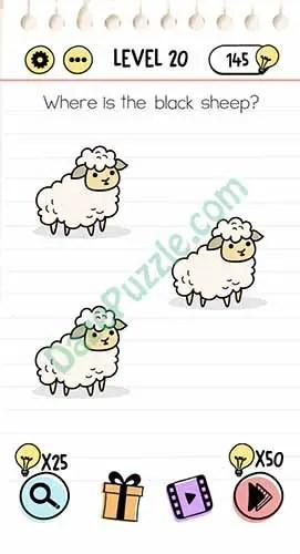 Brain test Level 20 where is the black sheep Walkthrough - YouTube