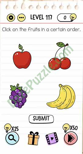 Brain Test Level 110 : brain, level, Brain, Level, Click, Fruits, Certain, Order, Answer