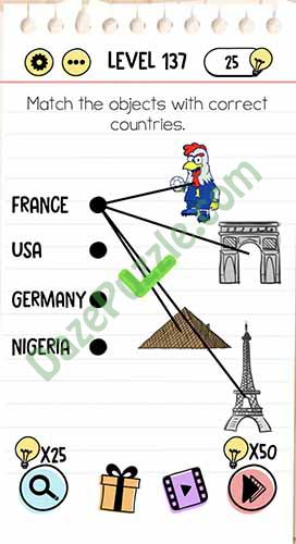 Brain Test Level 137 : brain, level, Brain, Level, Match, Objects, Correct, Countries, Answer, Puzzle