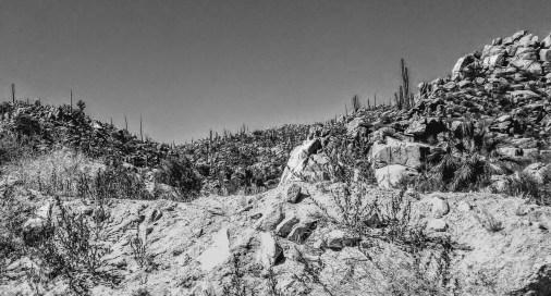Border to La Paz - Rocks B&W
