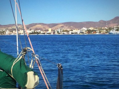 We are anchored in the Mogote looking into La Paz
