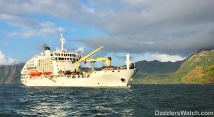 """Little did we know when we saw the Aranui in Hiva Oa that it would be our """"Santa Ship"""" later in our travels."""