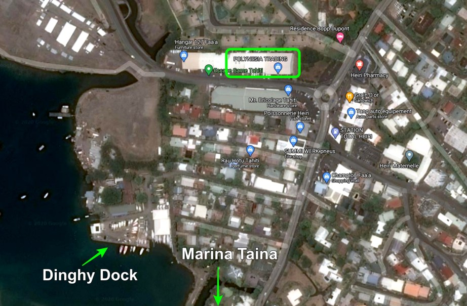 Map of Faa'a area dinghy dock to Polynesia Trading Company.