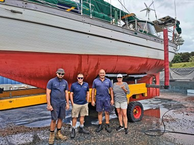 Jilly with the yard guys from Marsden Cove Marina