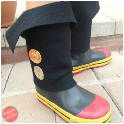 DIY Easy Kid Pirate Boot Covers for Halloween or dress-up playtime.
