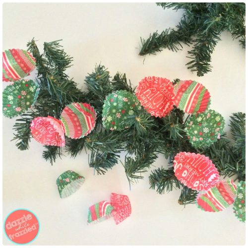 How to make a Christmas tree garland from miniature cupcake liners | DazzleWhileFrazzled.com