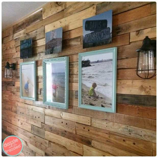 DIY Decorate a Pallet Wall with Personal Photos Gallery Wall | DazzleWhileFrazzled.com